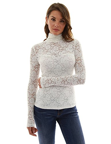 PattyBoutik Women Turtleneck Sheer Lace Blouse (Off-White Medium)