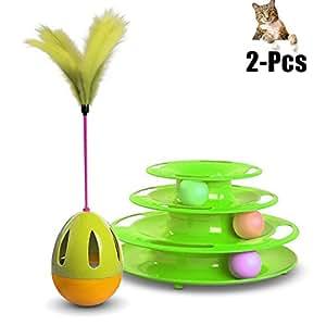 Juguetes Gatos, Legendog Pistas Bola Pluma Gato Juguete Interactivo Gato Jugar Juguete Con Gato Vaso Pluma: Amazon.es: Productos para mascotas