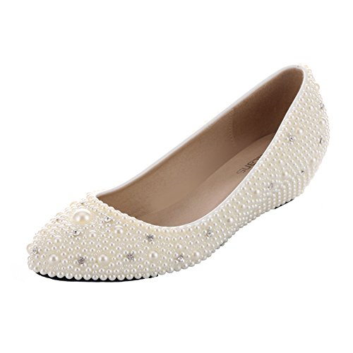 VELCANS Ladies Sparkly Pearl and Rhinestone Wedges Heels Platform Dress Bridal,Wedding,Prom,Evening,Party Designer Shoes (7.5 B(M) US, Ivory of High Heel:1.6