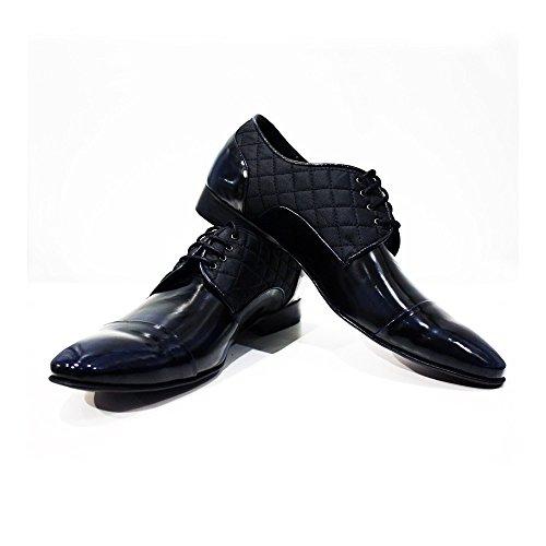 Modello Biella - Cuero Italiano Hecho A Mano Hombre Piel Azul marino Zapatos Vestir Oxfords - Cuero Charol - Encaje