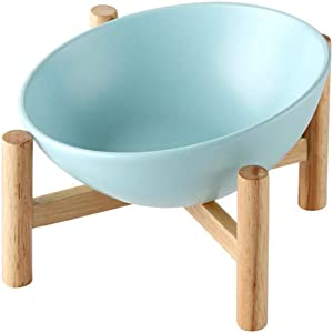 gutongyuan Ceramic Tilted Elevated Raised Pet Bowl with Wood Stand for Cats and Dogs No Spill Pet Food Water Feeder