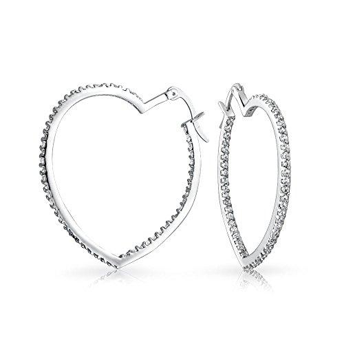 Heart Shaped Inside Out Cubic Zirconia Pave CZ Large Hoop Earrings For Women Girlfriend Silver Tone Brass 1.5 In Dia