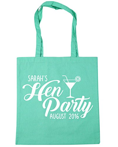 HippoWarehouse PERSONALISED Hen Party Your Name and Date Tote Shopping Gym Beach Bag 42cm x38cm, 10 litres Mint