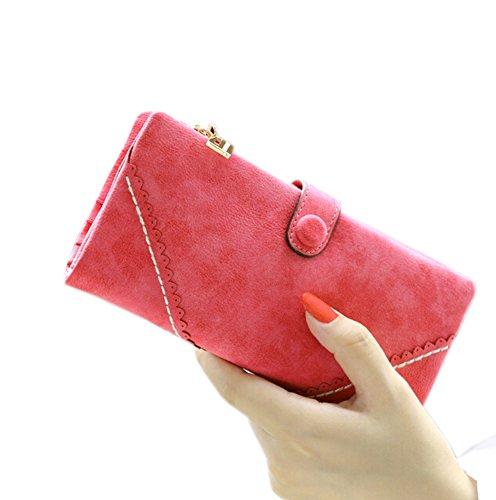 GGTFA Frauen Frischen Umschlag Stil Geldbörse Peeling Chiffons Bifold Wallet Card Inhaber Organizer Rot cevFzy