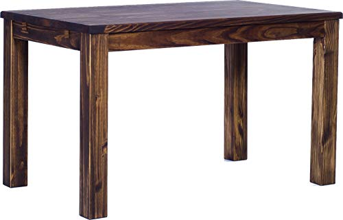 (Brazilfurniture Dining Table Rio Pine Dark Brown Solid Wood, Extensions Optional Extendable, Rectangular Shape and Standard Height, 47.2 x 31.5 Inches, Oak Antique Office Conference Desk Kitchen)