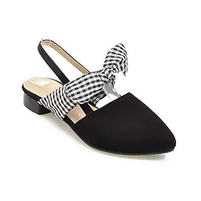 BalaMasa Womens ASL06904 Low-Cut Uppers Fashion No-Closure Black Pu Heeled Sandals - 2 UK (Lable:33)