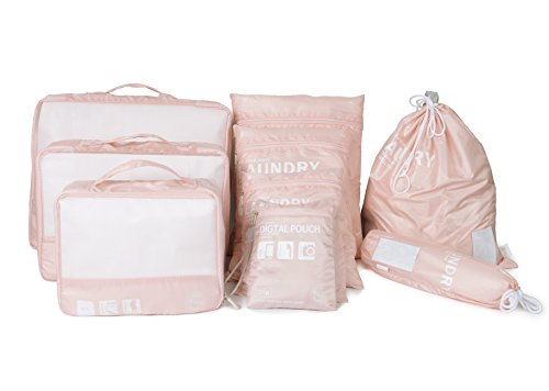 BES CHAN Travel Luggage Organizer Packing Cubes Set Storage Bag Waterproof Laundry Bag Traveling Accessories (9pcs Pink)