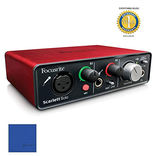 (Focusrite Scarlett Solo USB Audio Interface with Red Plug-ins and 1 Year Extended Warranty)