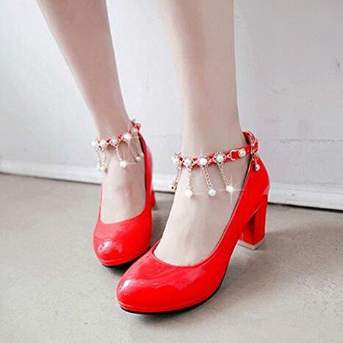 Easemax Para Mujer Elegantes Cadenas De La Correa De La Hebilla Del Tobillo Con Cuentas Alrededor Del Dedo Del Pie Mid Chunky Talón Bombas Zapatos Rojos