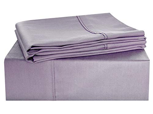 Finish Natural Linen (PHF Bed Sheet Set 300 TC Hotel Collection Sateen Finish Deep Pocket Natural Soft 4 Pieces King Size Purple)