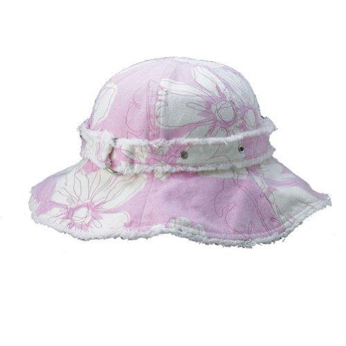 Ladies Canvas Flower Floral Print Hat, Light Pink ()