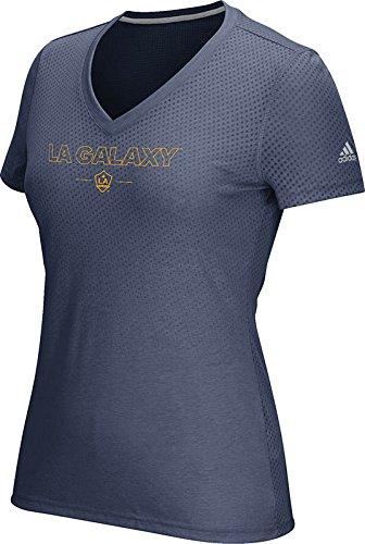 MLS Los Angeles Galaxy Women's Club Authentics 16 Too Aeroknit Short Sleeve Tee, Heathered Navy, X-Large