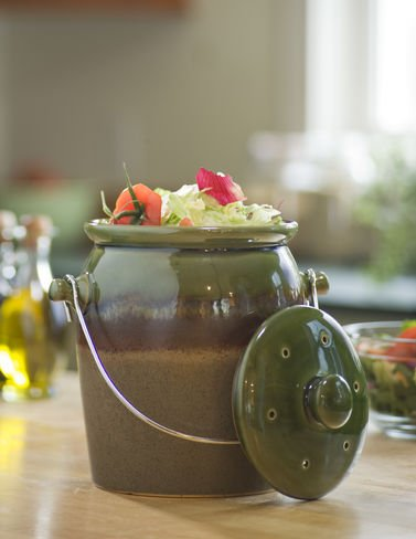 Decorative Green Stoneware Kitchen Compost Crock With Filter Included