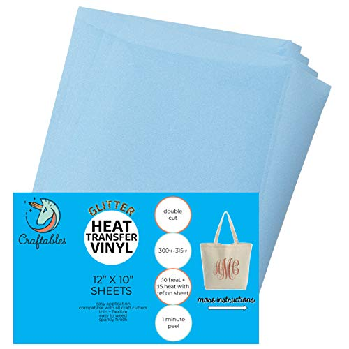 Craftables Baby Blue Glitter Heat Transfer Vinyl, HTV - 5 Sheets Sparkling Easy to Weed Tshirt Iron on Vinyl for Silhouette Cameo, Cricut, All Craft Cutters