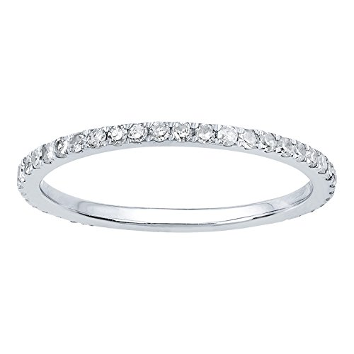 10k White Gold Pave Eternity Diamond Wedding Band (1/2 cttw, I-J Color, I2-I3 (Style Diamond Eternity Band)