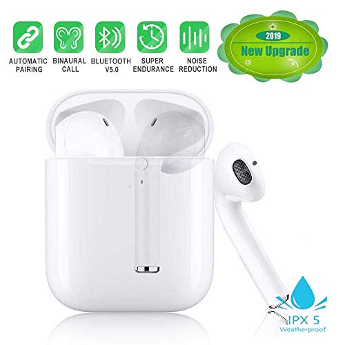 Bluetooth Earbuds, White Wireless Earbuds in-Ear Headphones Hands Free Noise Cancelling Headset Compatible with XR X 8 8plus 7 7 Plus 6 6plus Samsung Galaxy S9 S8 Huawei & Other Android Divices