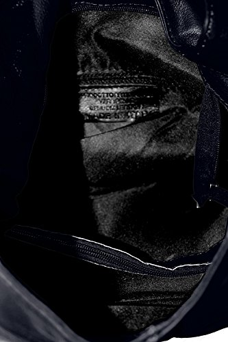 100 femme Made Dark à 41x55x12cm en à la fermeture sac Italy Blue main dans sac CTM in véritable éclair cuir bandoulière Zqaqd