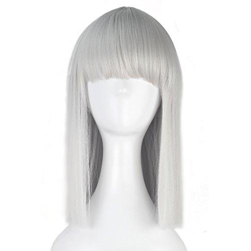 (Miss U Hair Synthetic Medium Long Straight Hair Women Girl Bob Party Cosplay Costume Wig (Silver))