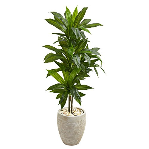 - Nearly Natural Dracaena Artificial Plant in Sand Colored Planter, 4'