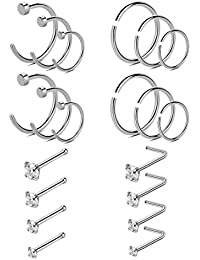 20-22G 20PCS 316L Stainless Steel Nose Rings Studs Cartilage Tragus Ear Piercing Body Jewelry