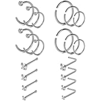 YOVORO 20-22G 20PCS 316L Stainless Steel Nose Rings Studs Cartilage Tragus Ear Piercing Body Jewelry