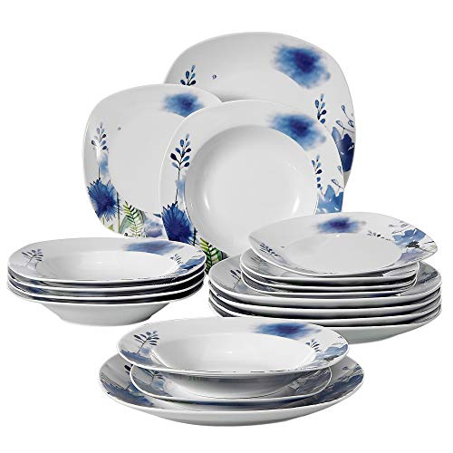 Cheap VEWEET 18-Piece Porcelain Dinnerware Set Royal Purple Flower Patterns Kitchen Sets with Dinner Plate, Soup Plate, Dessert Plate, Service for 6 (LAURA Series)