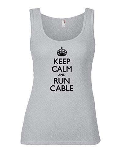 shirtloco Women's Keep Calm and Run Cable Tank Top, Heather Grey Extra Large ()