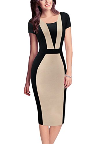 REPHYLLIS Women Vintage Summer Round Neck Business Working Cocktail Party Bodycon Pencil Dress Coffee S