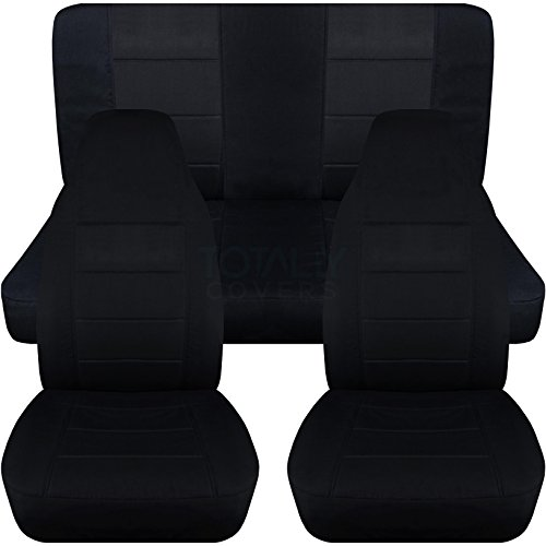 1987-1995 Jeep Wrangler YJ Seat Covers: Black – Full Set: Front & Rear (23 Colors) 1988 1989 1990 1991 1992 1993 1994 2-Door Complete Back Bench
