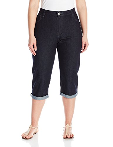 Riders by Lee Indigo Women's Plus Size Comfort Waist Cuff Capri, Rinse, 20 W - Stretch Cuffed Capri
