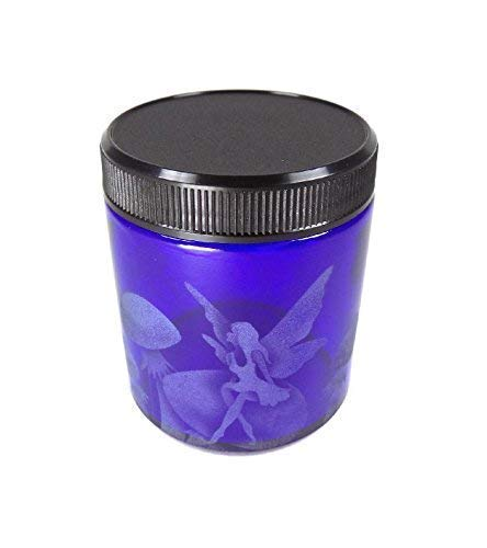 IncisoArt Hand Etched Decorative Jar Permanently Sandblasted (Sand Carved) Glass Handmade Custom Canister Screw-Top Lid (4 Ounce, Cobalt Blue Fairy Mushroom)