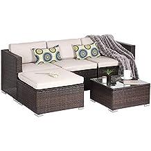 OAKVILLE FURNITURE Luxury Modern 5-Piece Outdoor Patio Garden Furniture Wicker Rattan Sectional Sofa Conversation Set, Brown Wicker, Beige Cushion