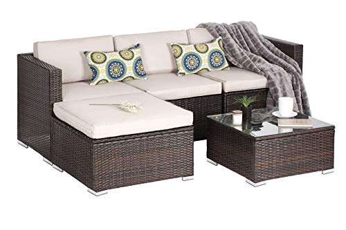 OAKVILLE FURNITURE Luxury Modern 5-Piece Outdoor Patio Garden Furniture Wicker Rattan Sectional Sofa Conversation Set, Brown Wicker, Beige Cushion