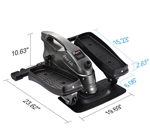 IDEER LIFE Under Desk&Stand Up Exercise Bike,Mini Elliptical Trainers Stepper Pedal w/Adjustable Resistance and LCD Display,Fitness Exercise Peddler for Home&Office Workout (Metallic Grey 09024) by IDEER LIFE (Image #8)