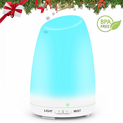 Essential Oil Diffuser, Mulcolor 120ml Ultrasonic Aroma Diffuser Aromatherapy Diffuser Cool Mist Humidifier with 7 Colors LED and Waterless Auto Shut-Off, Perfect For Bedroom Spa Yoga Christmas Gift