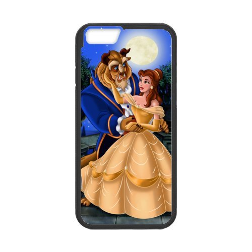 Fayruz- Personalized Protective Hard Textured Rubber Coated Cell Phone Case Cover Compatible with iPhone 6 & iPhone 6S - Beauty and The Beast Princess Belle F-i5G608
