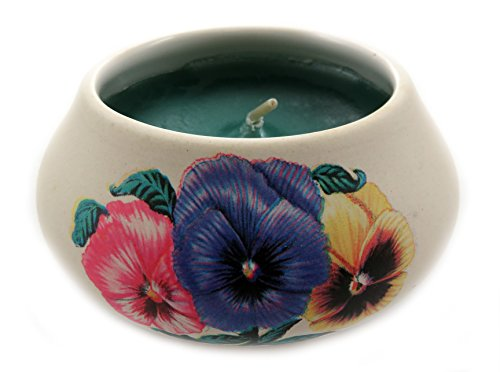 Mi Amore Off White Ornamental Ceramic Candle with an Assorted Colored Pansies Design CNDL5