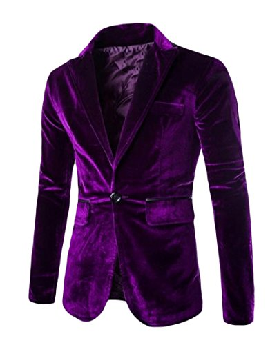 (FreelyMen Solid Color Velvet Notch Lapel Patch Blazer Jacket Suits Purple)