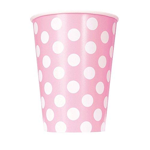 Unique Party 37976 - Paquet de 6 Gobelets - Carton à Pois - 355 ml - Rose Pastel