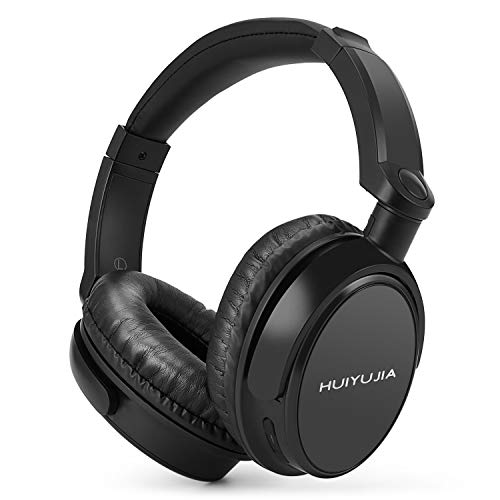HUIYUJIA Wireless Bluetooth Headphones with Over Ear, Hi-Fi Stereo Headset with Soft Memory-Protein Earmuffs Audio Cable, w Built-in Mic PC TV Cell Phones