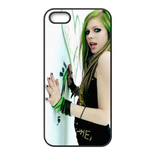 Avril Lavigne Wall coque iPhone 5 5S cellulaire cas coque de téléphone cas téléphone cellulaire noir couvercle EOKXLLNCD21912