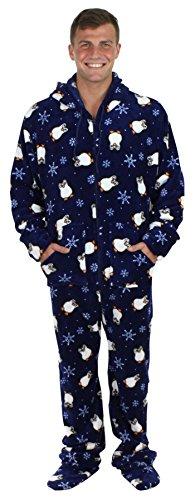 SleepytimePjs Men's Fleece Onesie Hooded Footed Pajamas Navy Blue Penguins – (ST17-M-3019-LRG)