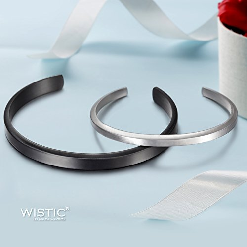 Stainless Steel Gold Plated Adjustable His and Her Matching Set Cuff Bracelet for Couple (NSB1391STCP Free Engraving) by Wistic (Image #1)
