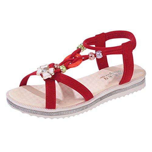 Ouneed ®Las mujeres sandalias Peep-toe bajas sandalias ojotas Rojo