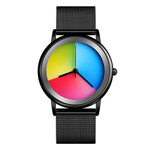 Women's Wrist Watches - Motion Changing Color Analog Quartz Watch Waterproof 30M Fasion Rainbow Gradient Round Dial with Steel Mesh Band Gift Watches for Lady