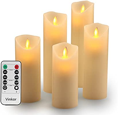 Vinkor Flameless Candles Battery Operated Candles Set Decorative Flameless Candles 4