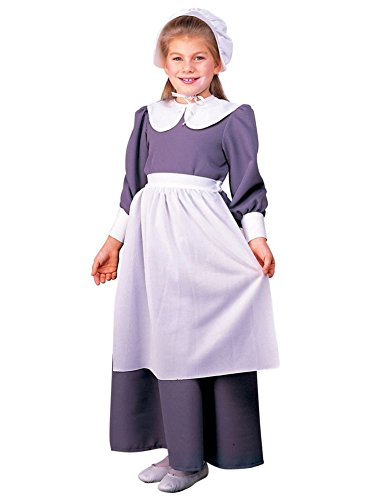 [Girl's Grey & White Pilgrim Costume - Size Medium] (Indian And Pilgrim Costumes)
