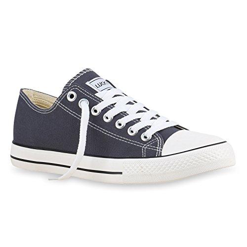 Stiefelparadies Herren Sneakers Low Canvas Schuhe Profilsohle Turnschuhe Flandell Dunkelgrau