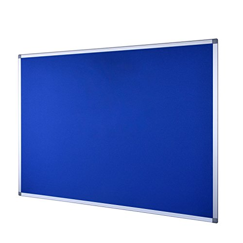 36'x48' Satin (EFIRNITURE Bulletin Board Notice Board 48 x 36 inch, Wall Mounted Aluminum Framed Blue Felt Board, 15 Push Pins, for Home School Office)