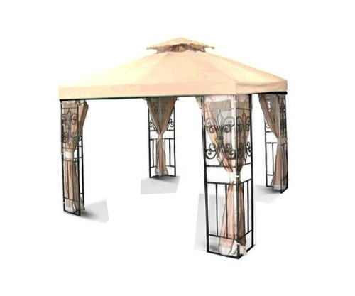 10' X 10' Gazebo Replacement Canopy Top Cover - Beige, (Beige Gazebo)